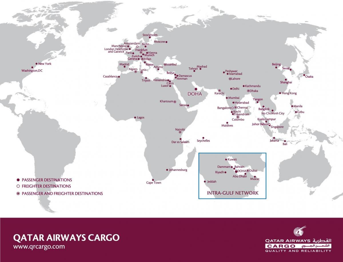 qatar airways network mapa